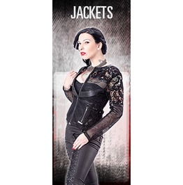 Ladies Black Gothic Fitted Lace Net Zip Front Jacket $5 Worldwide Shipping