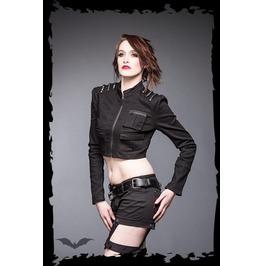 Ladies Black Goth Studded Crop Punk Jean Jacket $9 Worldwide Shipping