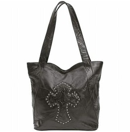 Genuine Black Leather Purse Handbag With Studded Cross Maltese Cross Design