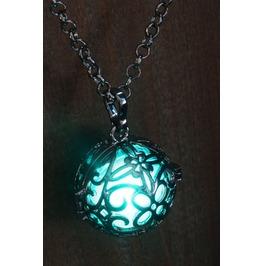 Teal Glowing Orb Pendant Necklace Locket Gun Metal Black