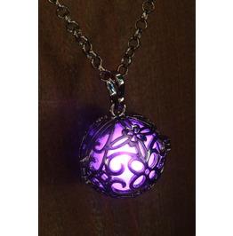 Purple Glowing Orb Pendant Necklace Locket Gun Metal Black