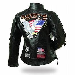 Ladies' Rock Design Genuine Buffalo Leather Motorcycle Jacket Size Sm 3 X