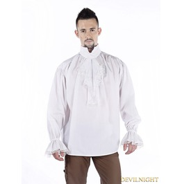 White Vintage High Collar Gothic Blouse For Men