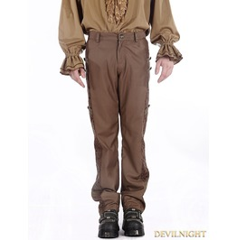 Brown Vintage Steampunk Pants For Men