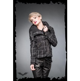 Ladies Grey Black Tartan Buckle Coat Plaid Punk Jacket $5 Shipping