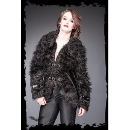 Ladies Black Faux Fur Coat Gothic Buckled Fuzzy 70s Diva Jacket $9 Shipping