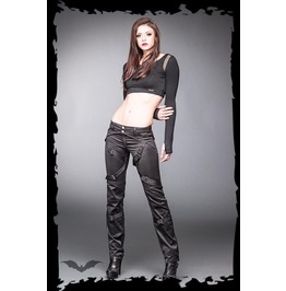 Ladies Black Buckled Goth Pants Industrial Trousers