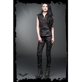 Ladies Shiny Goth Pants Skull Skinny Jeans Trousers