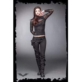 Ladies Goth Bondage Pants Black Industrial Trousers