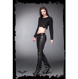 Ladies Black Faux Leather Goth Pants Industrial Punk Trousers