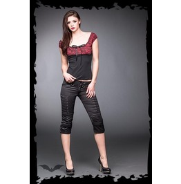 Ladies Black Gothic Rivet Punk Capri Snap Knee Shorts $5 To Ship Worldwide