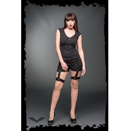 Ladies Black Removable Bondage Strap Gothic Punk Shorts