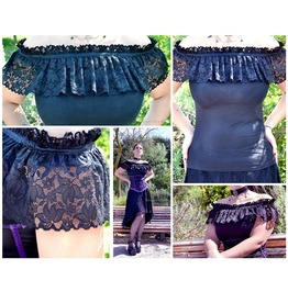 Black Cotton And Lace Gothic Blouse, Size Large /Extra Large