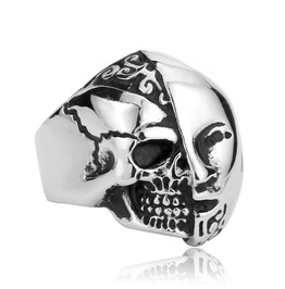 Hermaphrodite Skull Men Ring Punk Ring Vintage Ring
