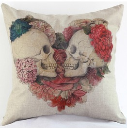 Heart Skull Cushion Pillow Cover J02