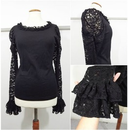 Black Cotton And Lace Ruffles Gothic Blouse, Size Large /Extra Large
