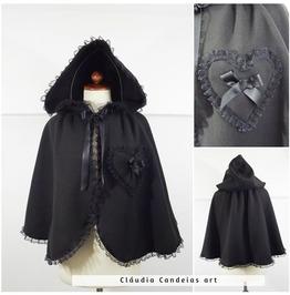 Gothic Black Fleece Cape, Victorian Alternative Styles