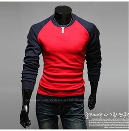 Men's Contrast Color Long Sleeved T Shirt