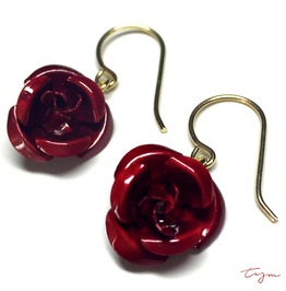 Metal Rose Dangle Earrings Red