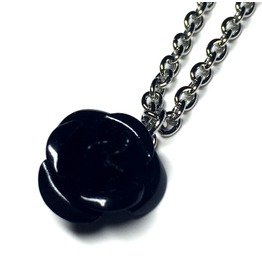 Metal Rose Necklace Black
