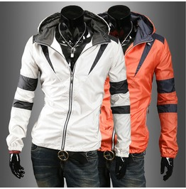 Men's Contrast Color Hoodied Mountaineering Jackets