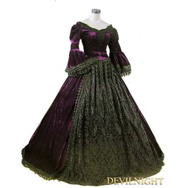 Purple And Black Velvet Lace Victorian Ball Gowns
