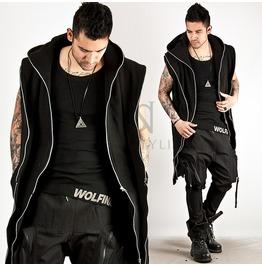 Cyber Punk Double Layer Zipper Accent Hood Vest 59