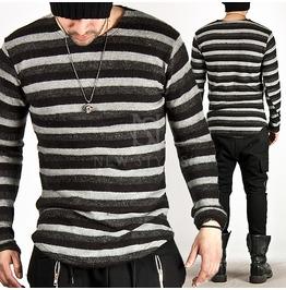 Wool Blend Stripe Pattern Round Hem Tee 417