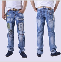 Men's Patches Ripped Jeans
