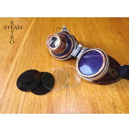 Copper Steampunk Goggles With Loupe Burning Man Cyber Goggles Blue