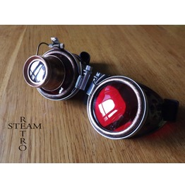 Copper Steampunk Goggles With Loupe Mad Scientist Cyber Burning Man