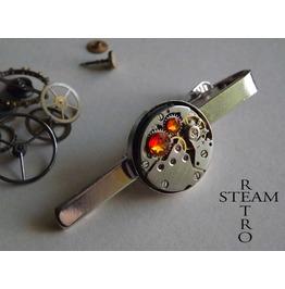 Steampunk Fire Opal Tie Clip Tie Bar Tie Clasp Men's Tie Clip