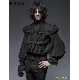 Black Gothic Armor Decoration Blouse For Men