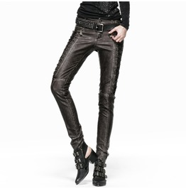 Steampunk Faux Leather Skull Zipper Lace Up Women's Pants B202