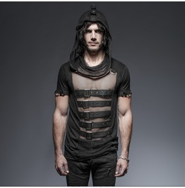Punk Rave Men's Hooded Mesh And Buckles T Shirt T425