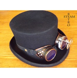 Steampunk Hat Wool Formal Top Hat With Goggles Steampunk Top Hat
