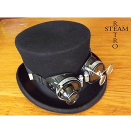 Steampunk Hat Wool Formal Top Hat With Black Goggles Steampunk Top Hat