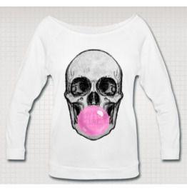 Skull Bubble Gum Wideneck 3/4 Sleeve Shirt