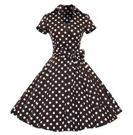 Chocolate Polka Dot Dress L Or 2 Xl
