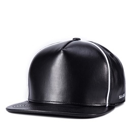 Contrasting Faux Leather Unisex Sliding Plate Baseball Cap 404