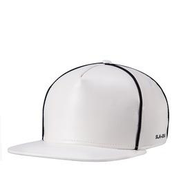 Contrasting Faux Leather Unisex Sliding Plate Baseball Cap White 405