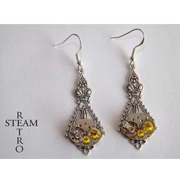 Citrine Steampunk Filigree Earrings Steampunk Earrings Victorian