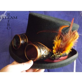 Steampunk Hat Wool Feather Top Hat With Black Goggles Steampunk Top Hat
