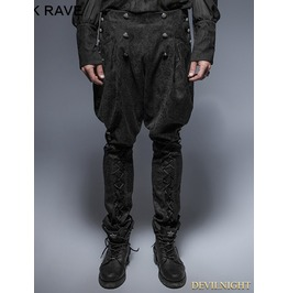 Black Gothic Riding Breeches For Men