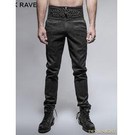 Black Peacock Button Gothic Pants For Men