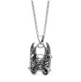 Skull Pendant In Stainless Steel With Chain (20 In)