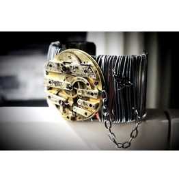 "Steampunk Bdsm Cuff ""Apocalypse's Chronicles"" Brutal Metal Gilded Bracelet"
