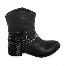 Lucky Boots Black Ecoleather Biker Punk Rock Shoes Studs Chains Booties