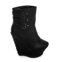 Amplify Boots All Black Shoes Stud Heels Rocker Chic Glam Punk Occult Witch