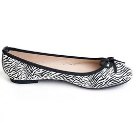 Zebra Print Flats Black Trim Bow Rubber Punk Rock Kawaii Girly Female Shoes